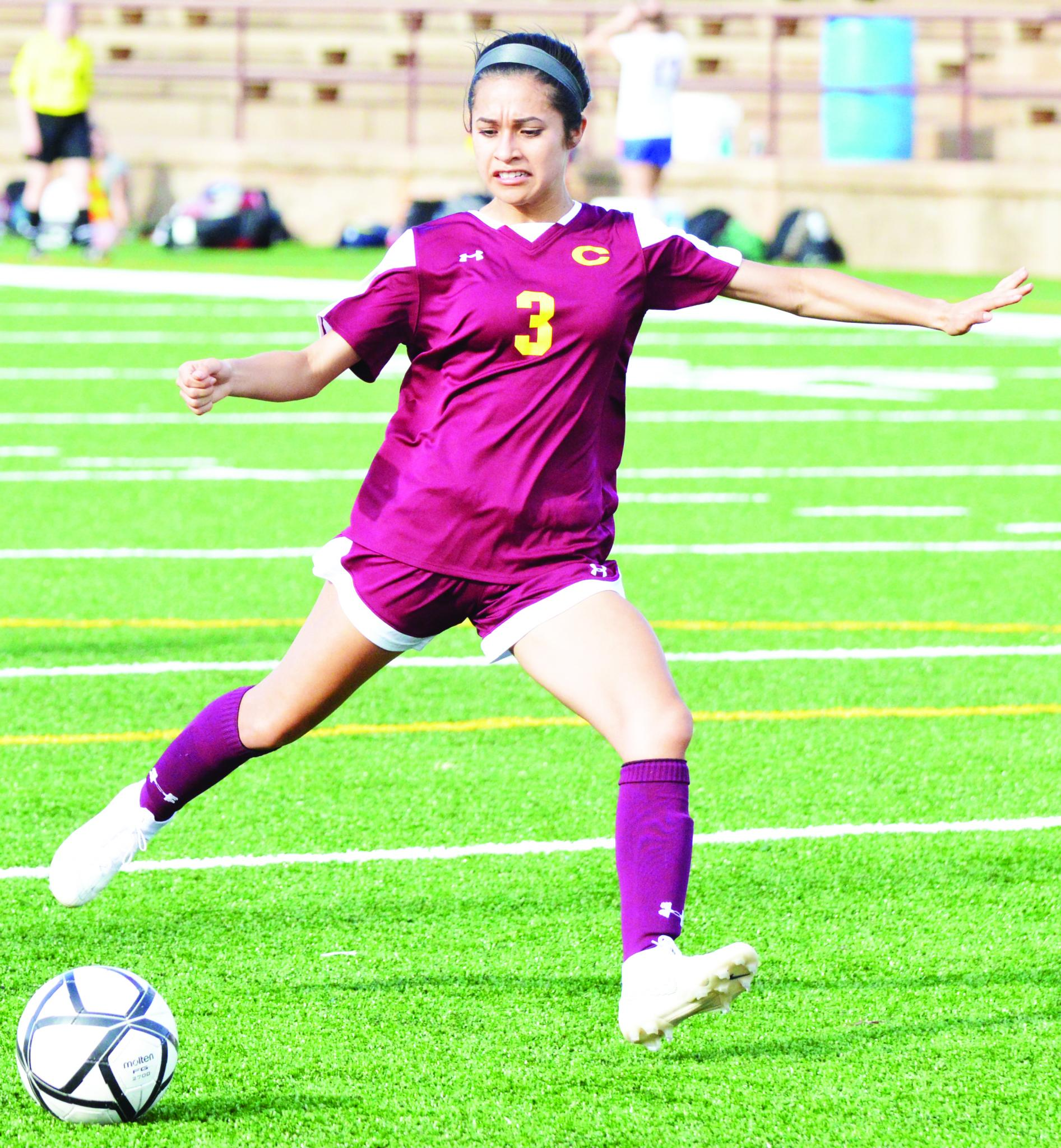 Clinton junior forward Macey Fernandez scored Clinton's third goal versus Newcastle to seal up the Lady Reds' fifth district win. Fernandez has scored a team-leading 15 goals this year.