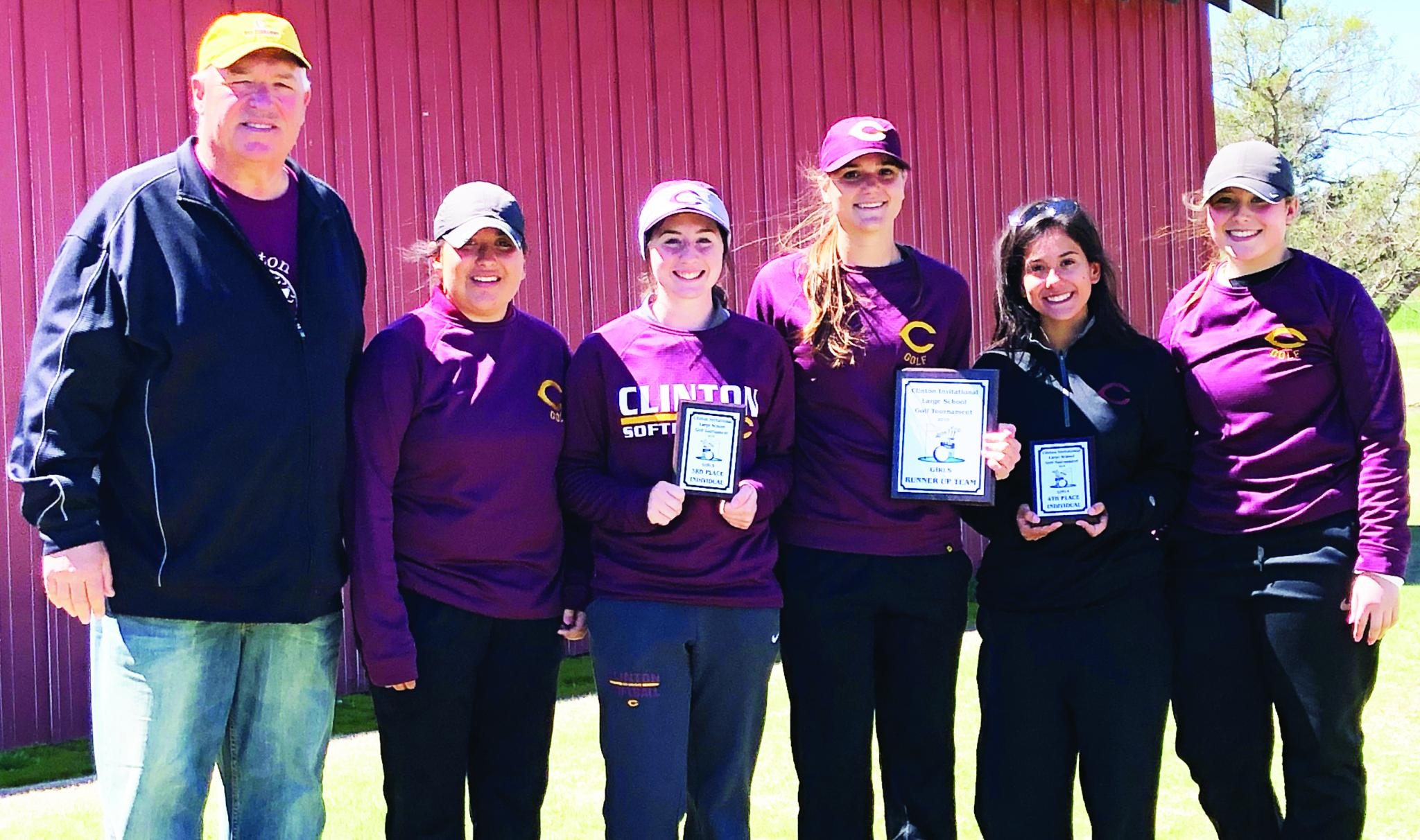 The Clinton girls' golf team earned second place at their home tourney Thursday. Pictured are, from left, CHS head golf coach Mike Lee, Audrie Hernandez, Loren Coleman, Kennedy Meacham, Kaitlin Jenkins and Harli Heerwald.