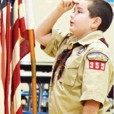 Young patriot salutes
