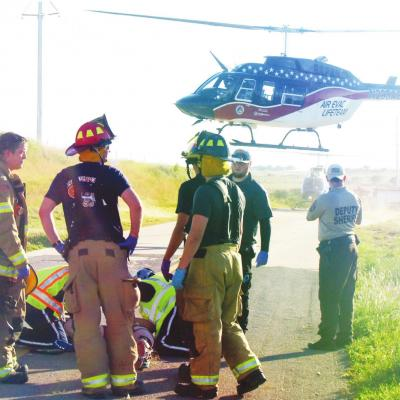 Clinton pair flown to OKC hospital following accident