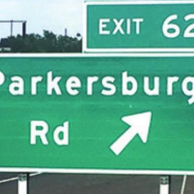 I-40 exit sign, cemetery all that is left of Parkersburg