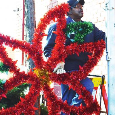 Christmas decorations going up